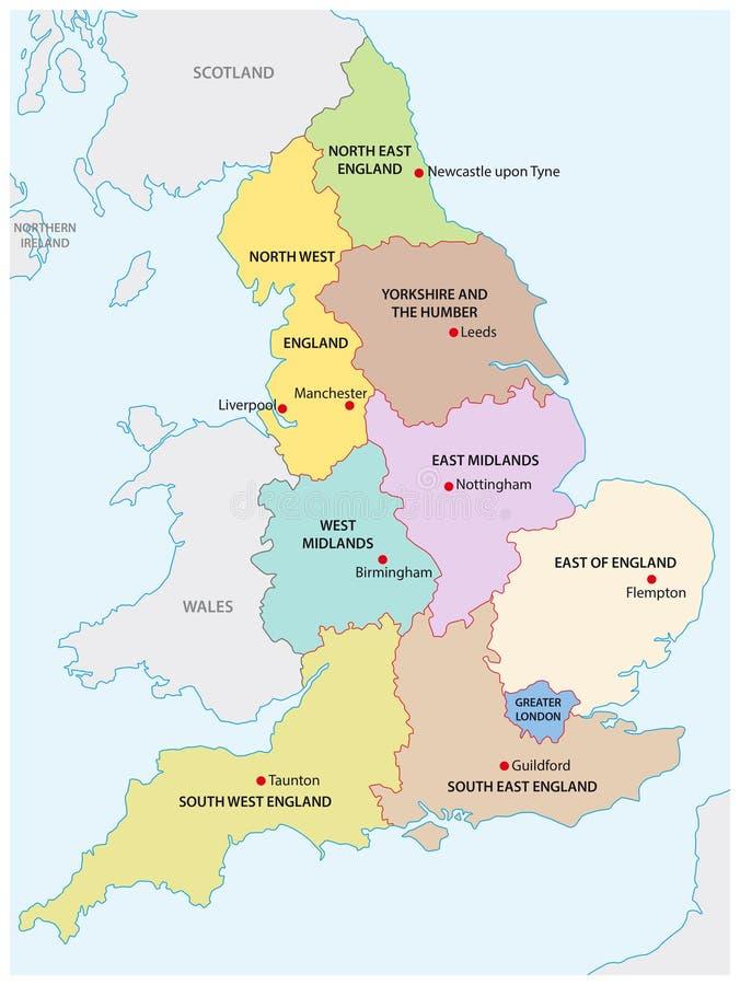 Umreißen Sie Karte der neun Regionen von England lizenzfreie abbildung