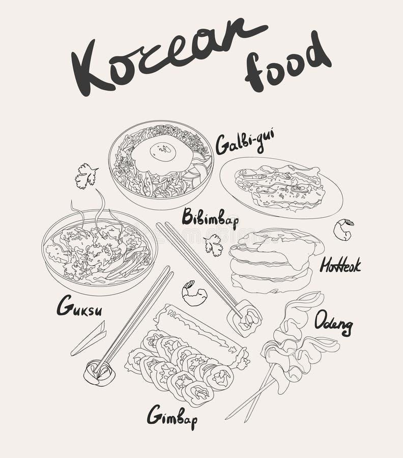 Umreißen Sie koreanische traditionelle Teller und koreanischen Straßennahrungsmittelsatz Bibimbap, guksu, gimbap, oden, GalbigUI, stock abbildung