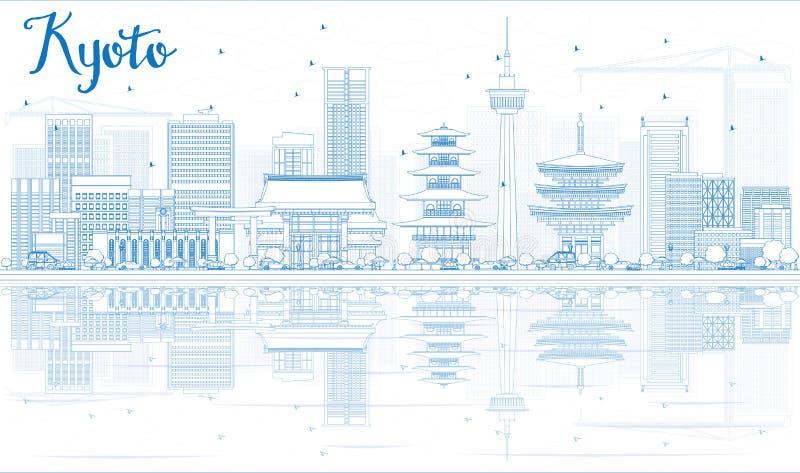 Umreißen Sie Kyoto-Skyline mit blauen Marksteinen und Reflexionen lizenzfreie abbildung