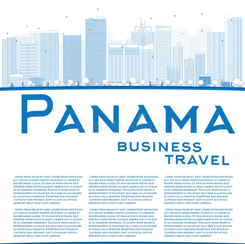 Umreißen Sie Panama-Stadt Skyline mit blauen Wolkenkratzern und kopieren Sie Raum lizenzfreie abbildung