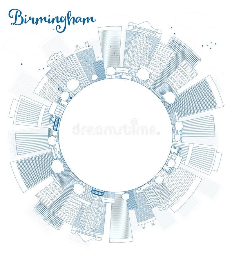 Umreißen Sie Skyline Birminghams (Alabama) mit blauen Gebäuden und Spindel vektor abbildung