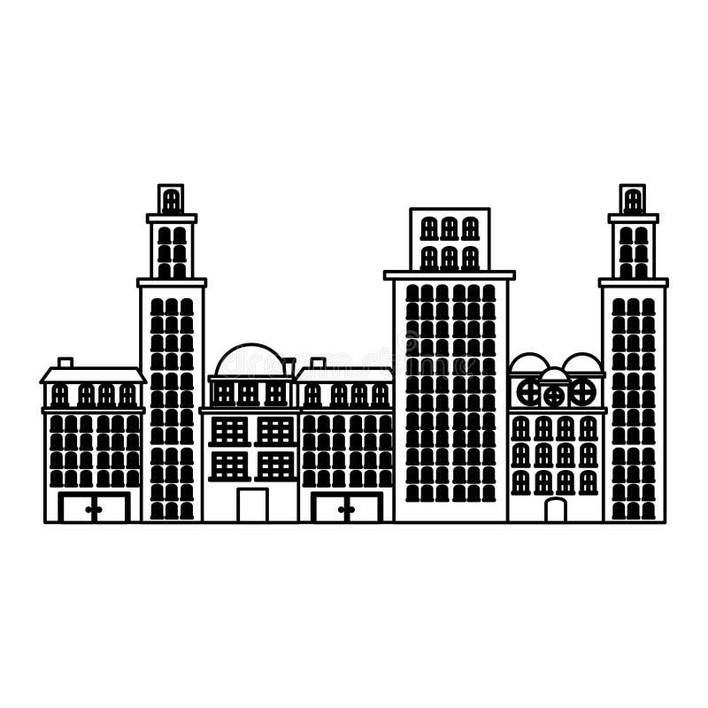 umreißen Sie städtisches Stadtbild und Wohnwohnungsszenenikone vektor abbildung