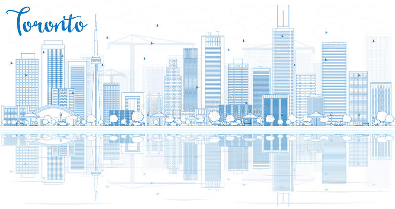 Umreißen Sie Toronto-Skyline mit blauen Gebäuden und Reflexionen stock abbildung