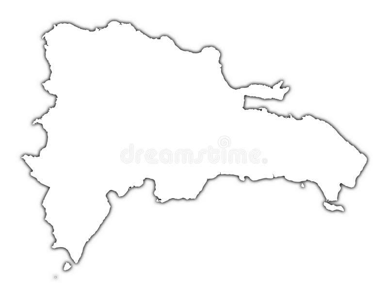 Umreißkarte der Dominikanischen Republik lizenzfreie abbildung