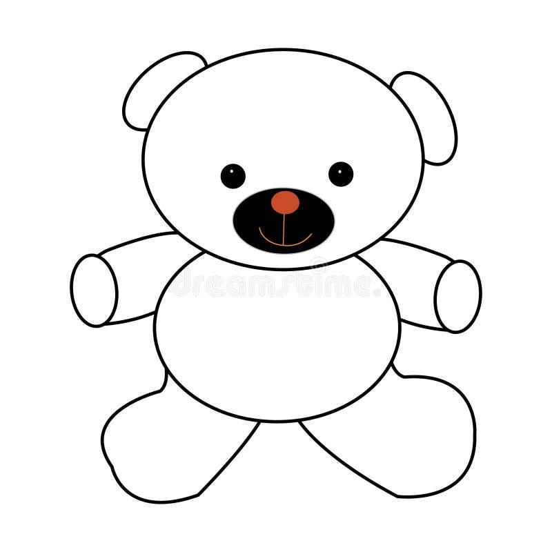 Umrissene Bärnspielzeug-Vektorillustration Lokalisiert auf Weiß lizenzfreie abbildung
