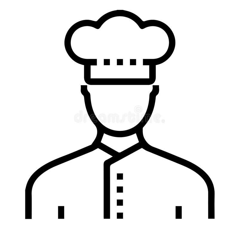 Umrissene Ikone: Chef Avatar stock abbildung