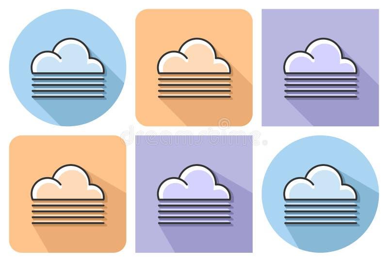 Umrissene Ikone des nebeligen Wetters vektor abbildung
