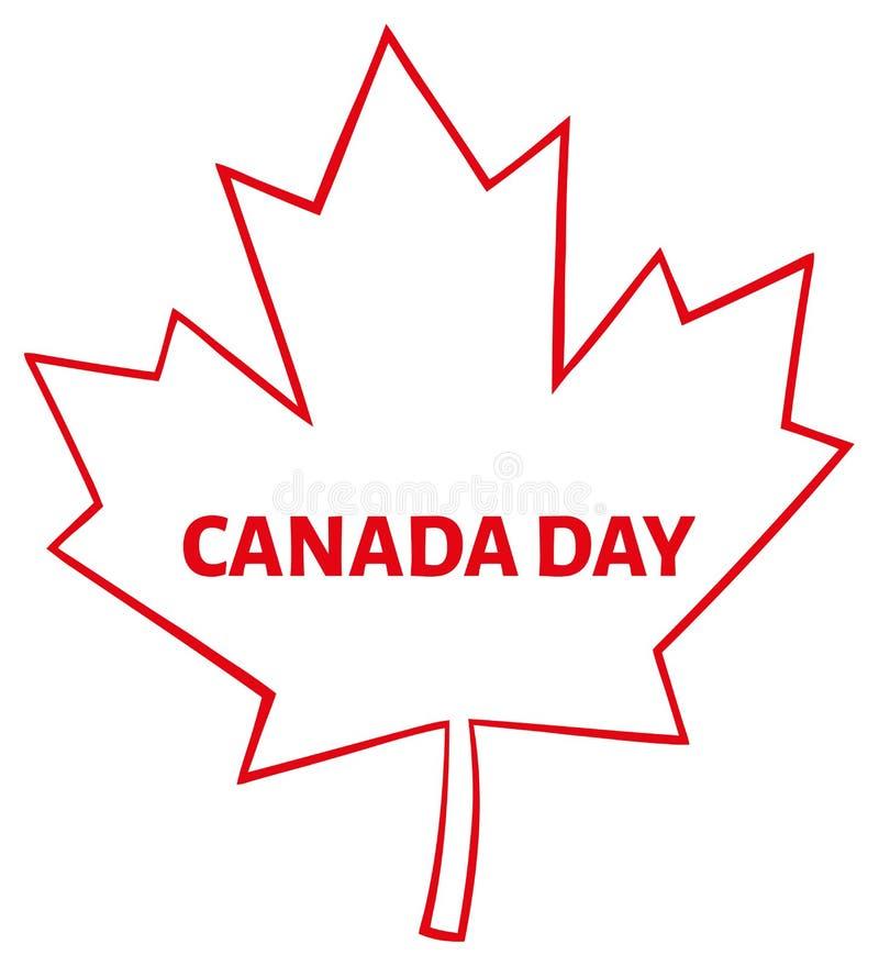 Umrissene kanadisches Ahornblatt-rote Linie Karikatur-Zeichnung lizenzfreie abbildung