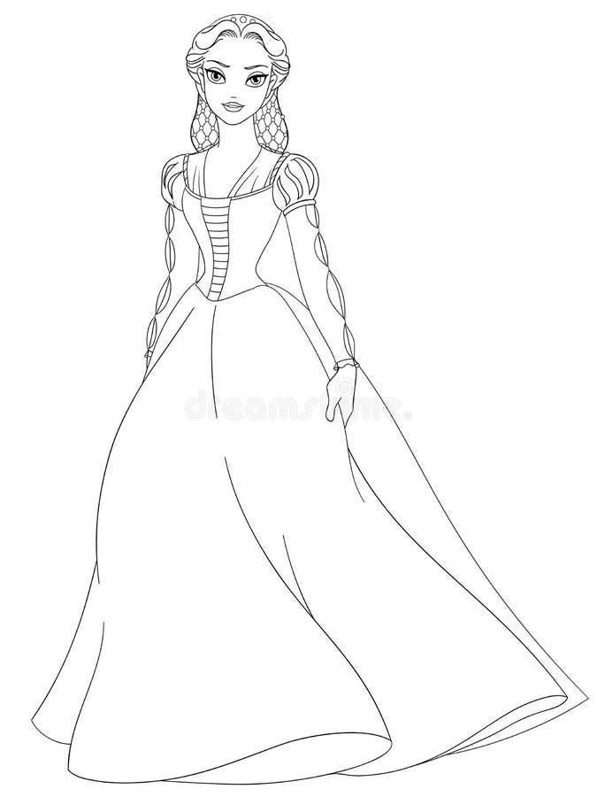 Umrissene mittelalterliche Dame im langen Kleid Farbtonseitenvektor vektor abbildung