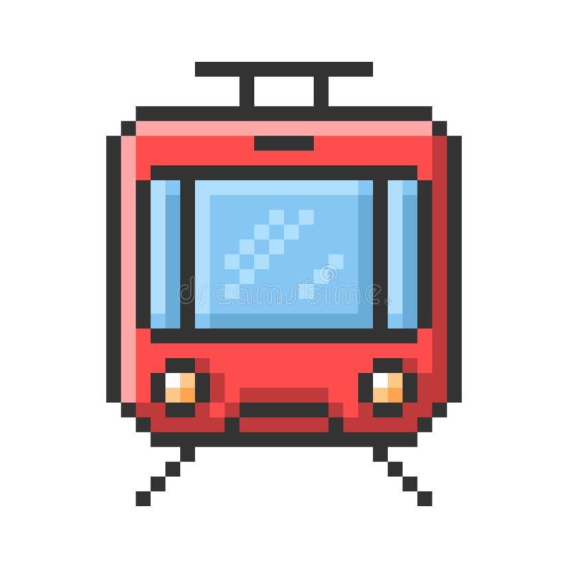 Umrissene Pixelikone der Tram lizenzfreie abbildung