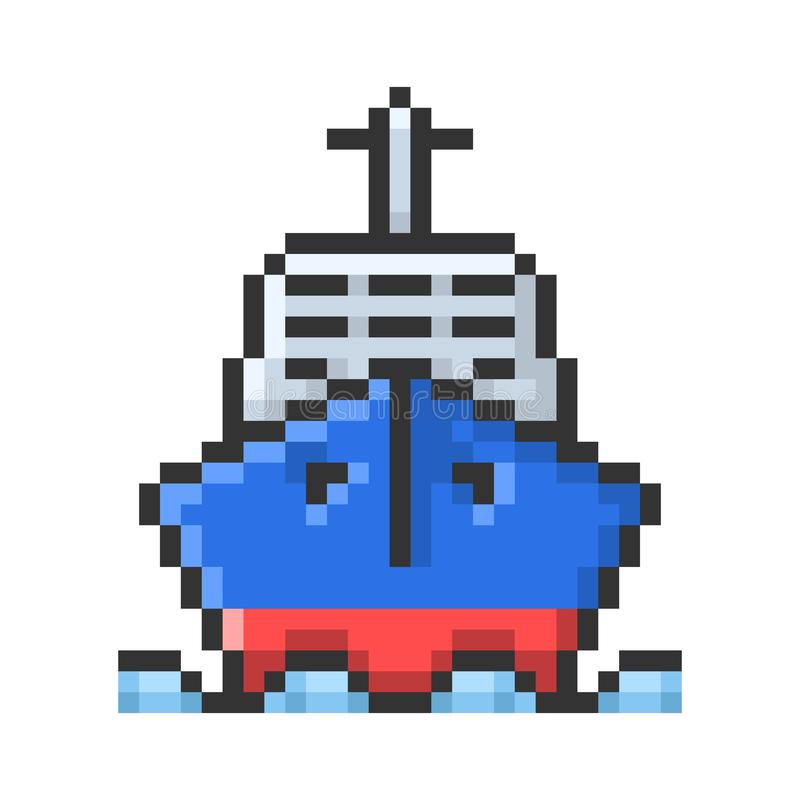 Umrissene Pixelikone des Schiffs lizenzfreie abbildung