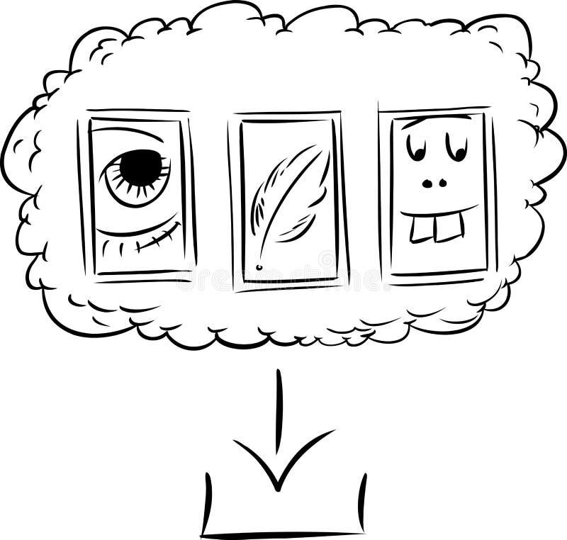 Umrissene von der Wolke herunterzuladen Dateien, vektor abbildung