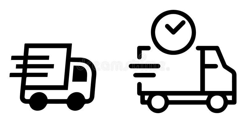 Umrissener Ikonen-Satz: Kurierdienst lizenzfreie abbildung