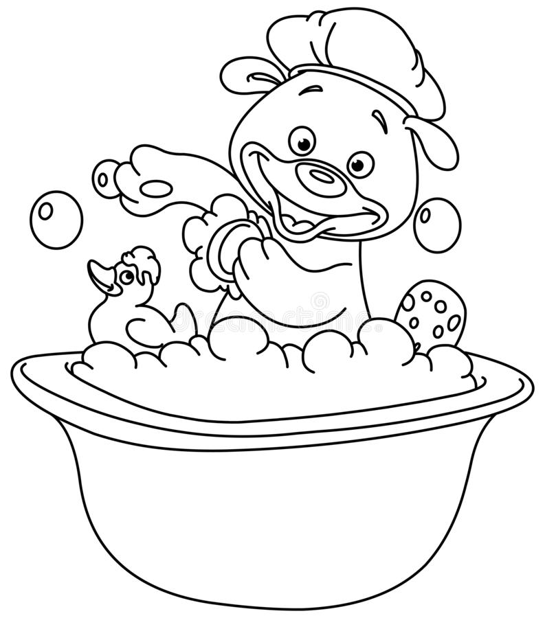 Umrissener Teddybär, der ein Bad nimmt stock abbildung