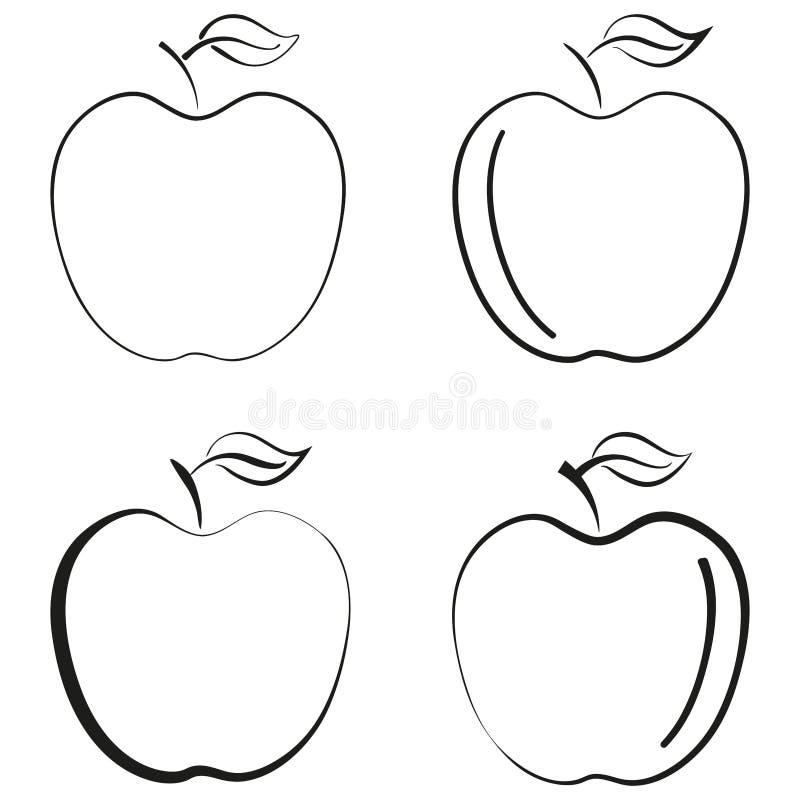 umrissenes Apfelfruchtikonenschwarzschattenbildlogo-Vektorgestaltungselement stock abbildung