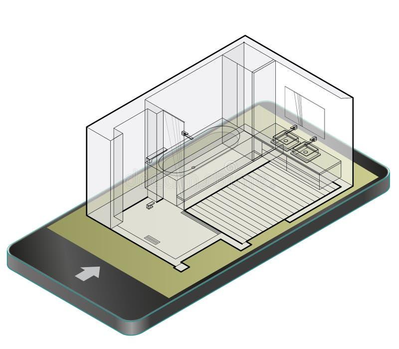 Umrissenes Badezimmer mit Bretterboden im Handy Isometrische Einschließung des Drahtes Dusch lizenzfreie abbildung