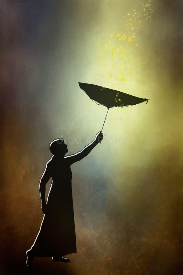 Umrissenes Schattenbild der Frau im langen Rock mit Innere - heraus umbre lizenzfreies stockbild