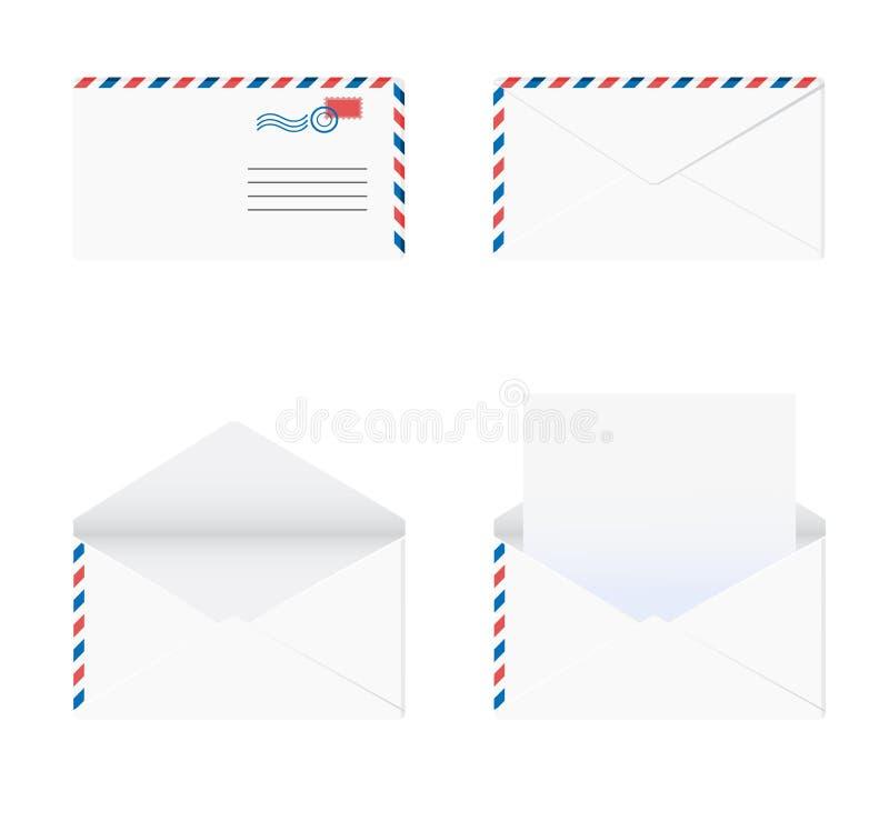 Umschlag in 4 Stufen über weißem Hintergrund vektor abbildung