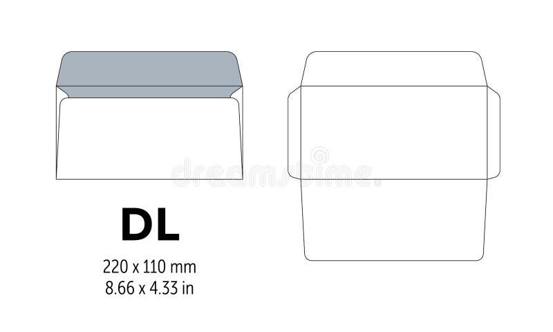 Umschlag DL-Schablone für a4, Papier a5 mit Schnittlinien stock abbildung