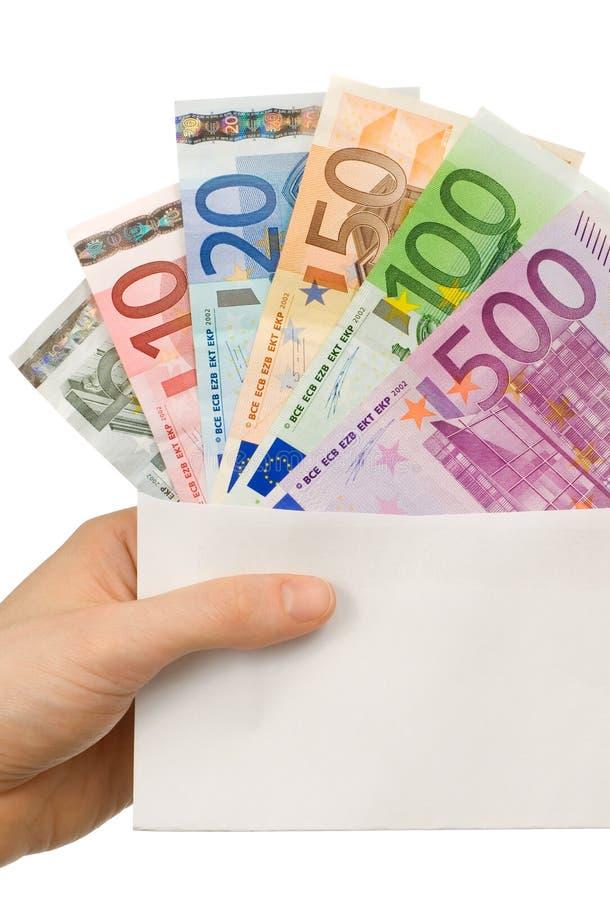Umschlag mit Euroanmerkungen stockfotos