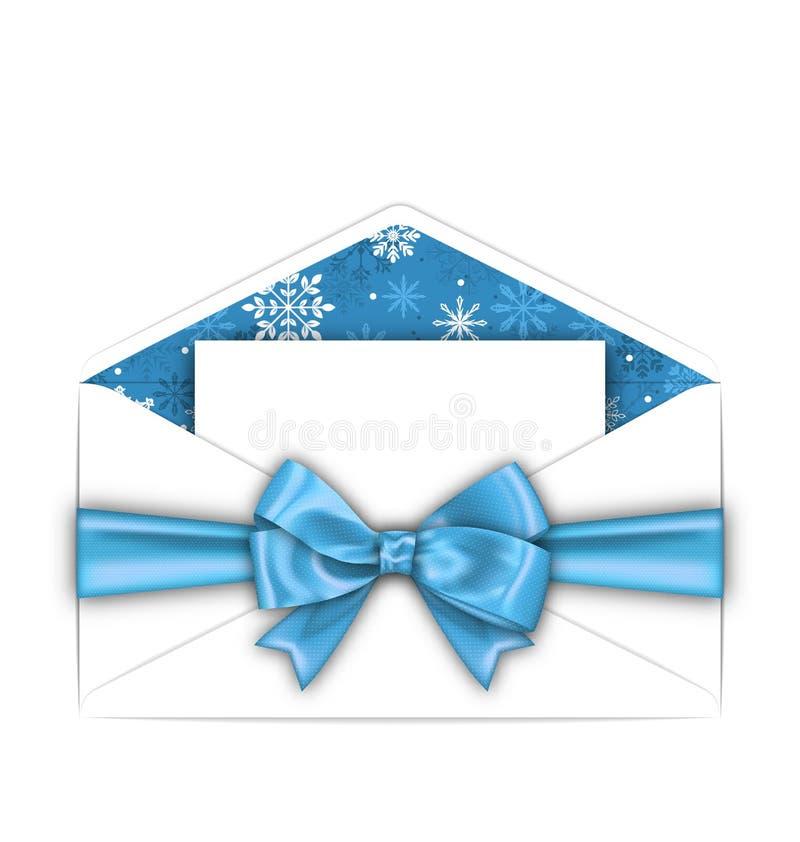 Umschlag mit Gruß-Karte und blaues Bogen-Band für Winterurlaube vektor abbildung