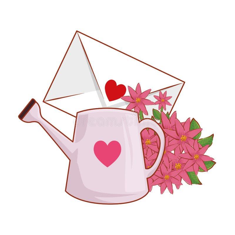 Umschlag mit Herzen und Blumen lizenzfreie abbildung