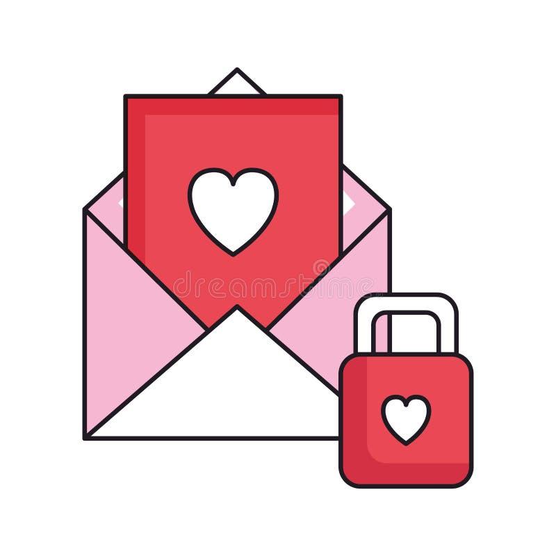 Umschlag mit Herzen mit Vorhängeschloß stock abbildung