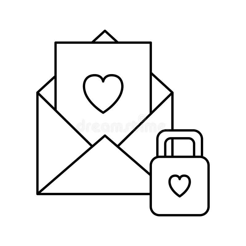 Umschlag mit Herzen mit Vorhängeschloß lizenzfreie abbildung