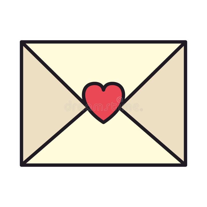 Umschlag mit Herzikone vektor abbildung