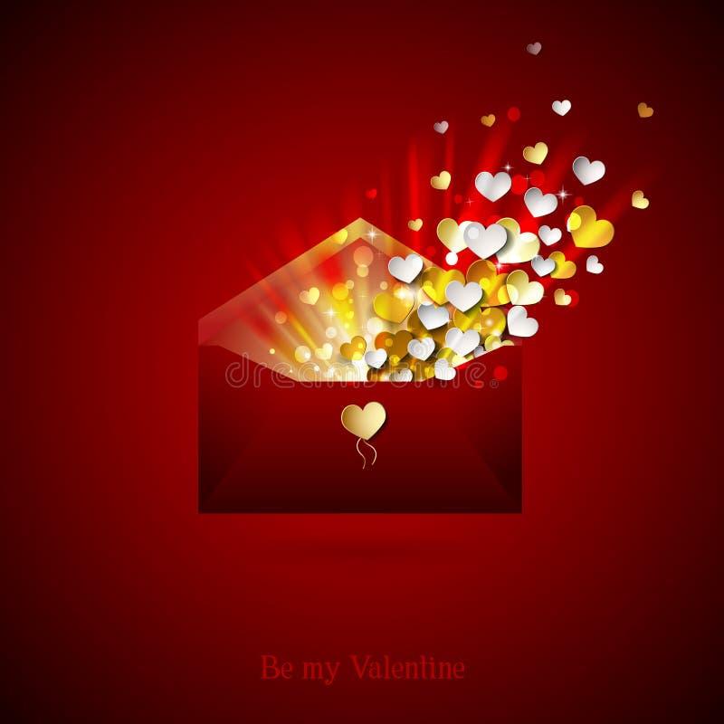 Download Umschlag Mit Innerem Öffnen Sie Umschlag Mit Inneren Glückwünsche  Auf Valentinstag Vektor Abbildung   Bild