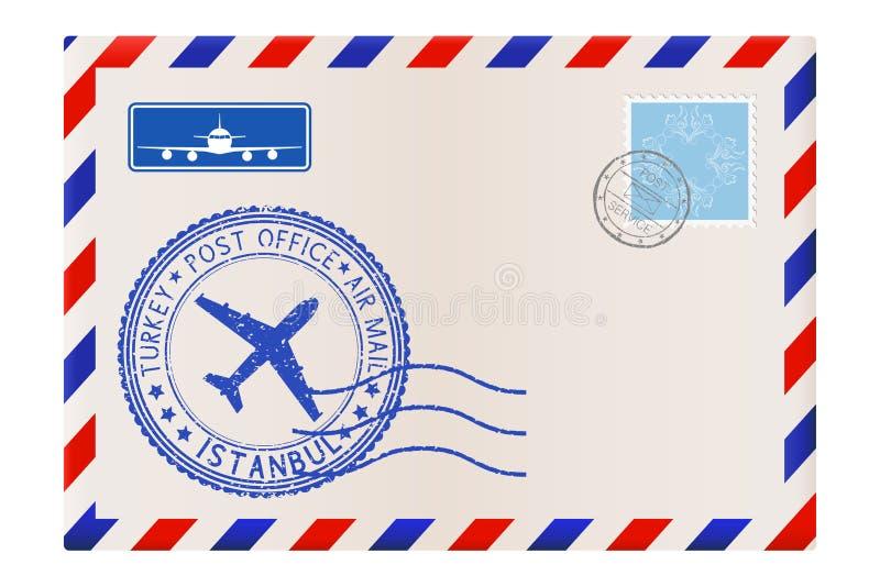 Umschlag Mit Poststempel Istanbul, die Türkei stock abbildung