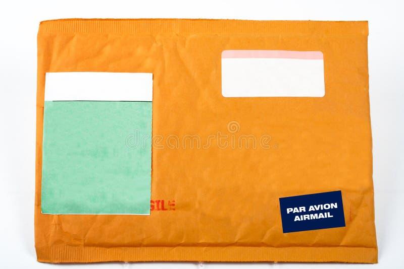Umschlag mit unbelegten Aufklebern für Text lizenzfreie stockfotos