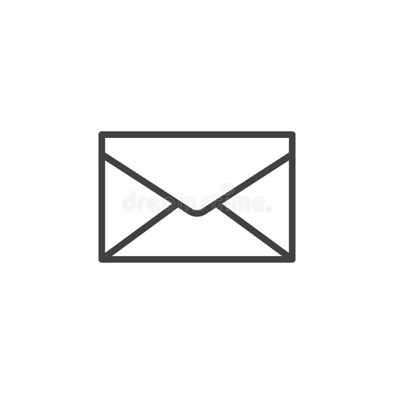 Umschlag, Post, Mitteilungslinie Ikone, Entwurfsvektorzeichen, lineares Artpiktogramm lokalisiert auf Weiß lizenzfreie abbildung