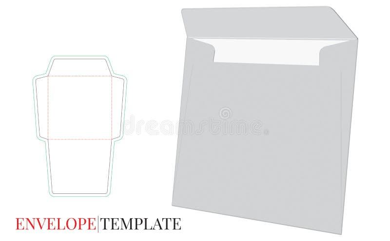 Umschlag-Schablone mit Würfellinie, Vektor-Umschlag-Entwurf vektor abbildung