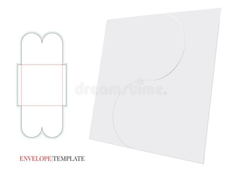 Umschlag-Schablone mit Würfellinie, Vektor-Umschlag-Entwurf lizenzfreie abbildung