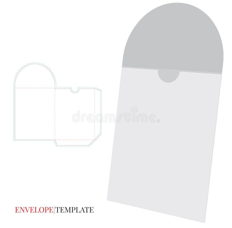 Umschlag-Schablone mit Würfellinie, Vektor mit gestempelschnitten/Laser schnitt Schichten vektor abbildung