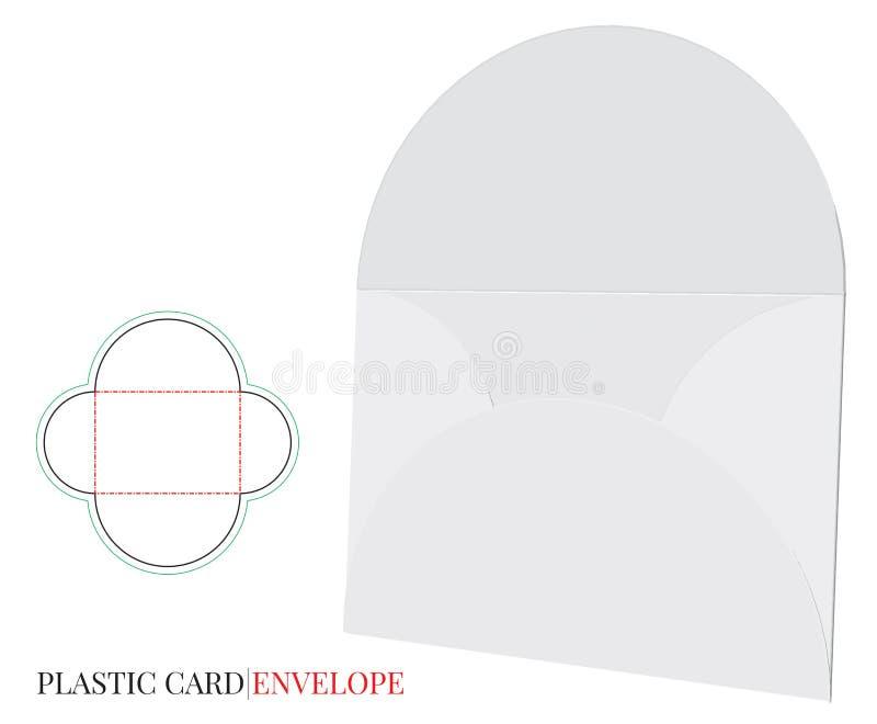 Umschlag-Schablone mit Würfellinie, Vektor mit gestempelschnitten/Laser schnitt Schichten lizenzfreie abbildung