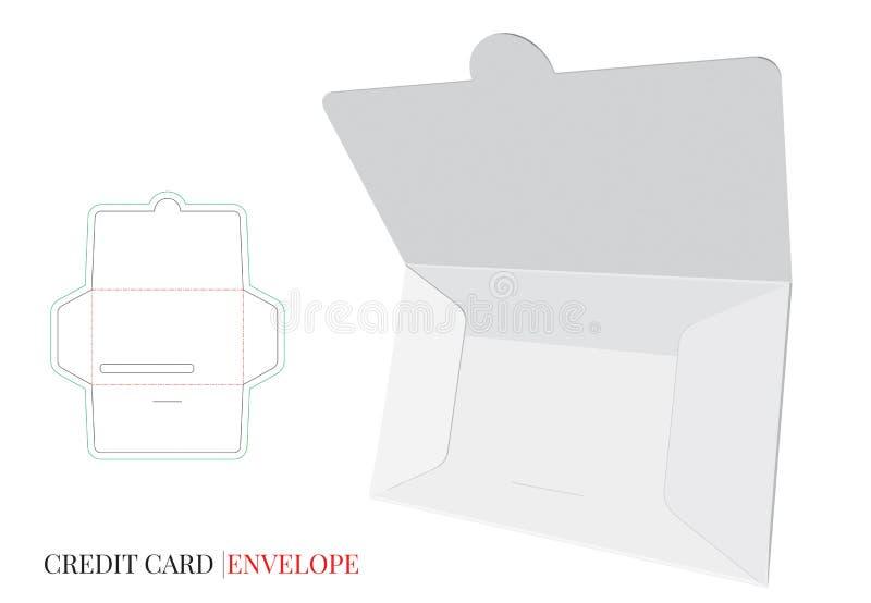 Umschlag-Schablone mit Würfellinie, Vektor mit gestempelschnitten/Laser schnitt Schichten Kreditkarte-Umschlag-Entwurf vektor abbildung