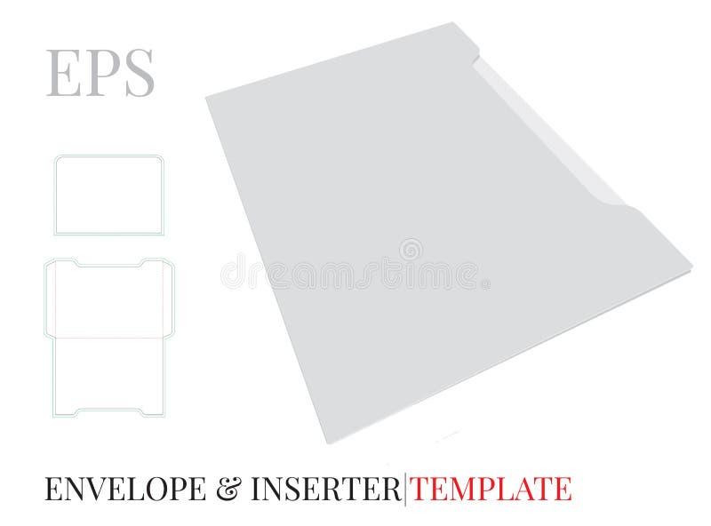Umschlag-Schablone mit Würfellinie, Vektor mit gestempelschnitten/Laser schnitt Schichten Weiß, klar, freier Raum, lokalisierter  lizenzfreie abbildung