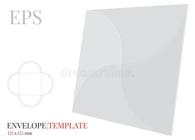 Umschlag-Schablone mit W?rfellinie, Vektor mit gestempelschnitten/Laser schnitt Schichten Wei?, klar, freier Raum, lokalisierter  lizenzfreie abbildung