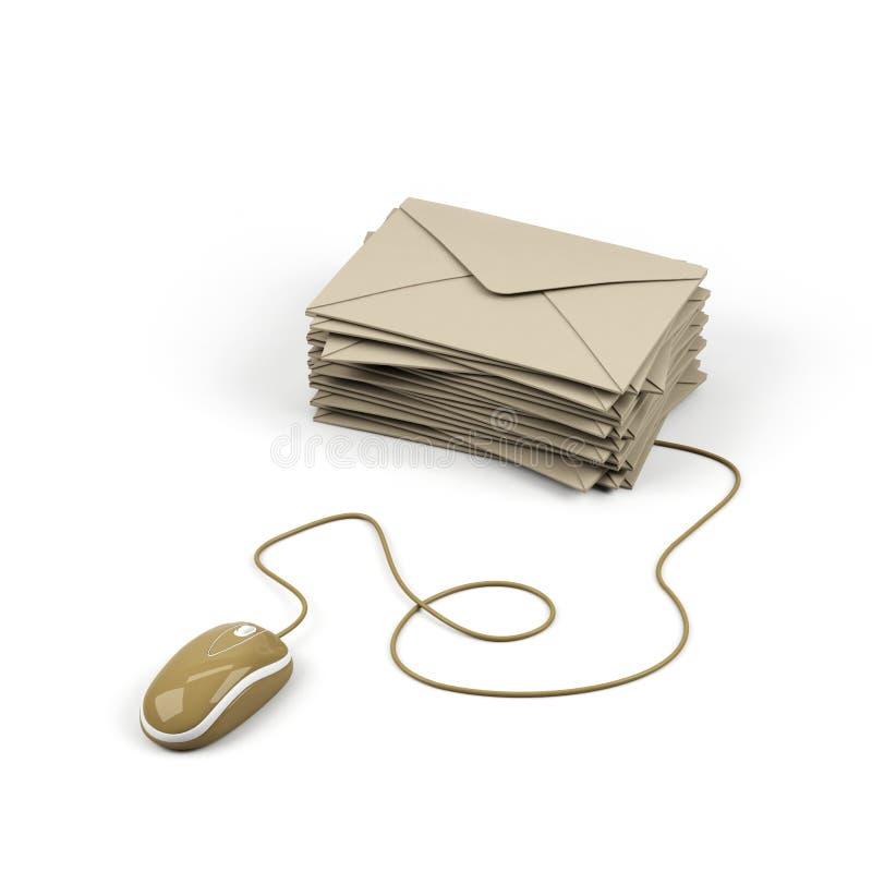 Umschlag schloß an eine Computermaus an. lizenzfreie abbildung