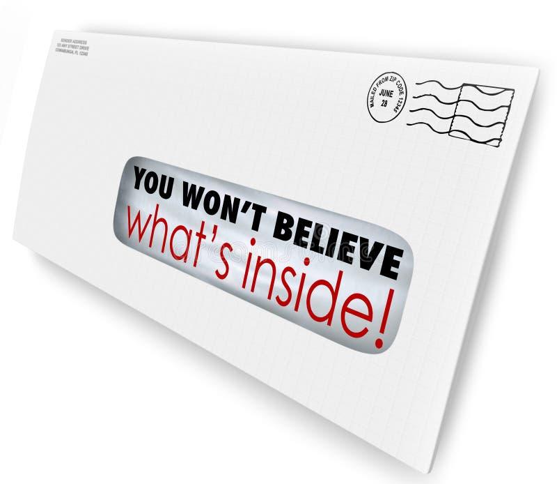 Umschlag-spezielle Lieferung glauben Sie nicht, was nach innen ist lizenzfreie abbildung