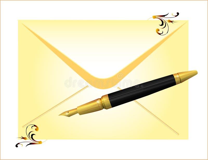 Umschlag und goldene Feder lizenzfreie abbildung