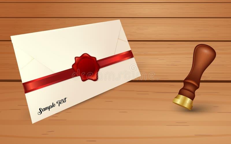 Umschlag und rotes Wachssiegel mit Siegelstempel lizenzfreie abbildung
