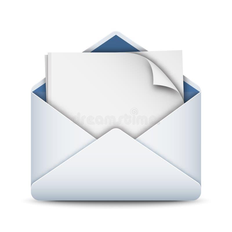 Umschlagikone mit einem leeren Blatt Papier, Vektor auf Lager lizenzfreie abbildung