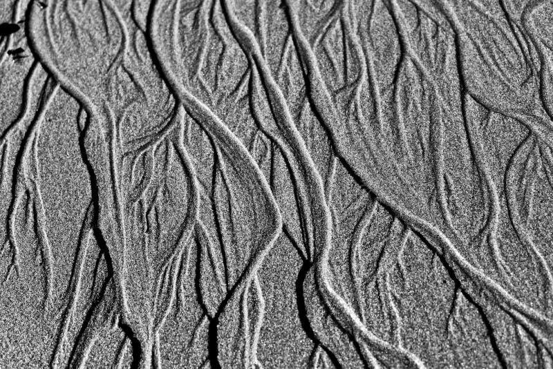 Umsponnene Kanäle auf Sand lizenzfreies stockbild