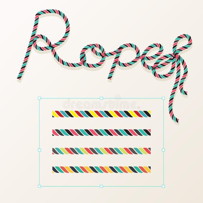 Umsponnener Seilmustervektor nahtlos für Dekorationsdesign Seilbürste für Illustrator Bedienungsfreundlich und ändern Sie lizenzfreie abbildung