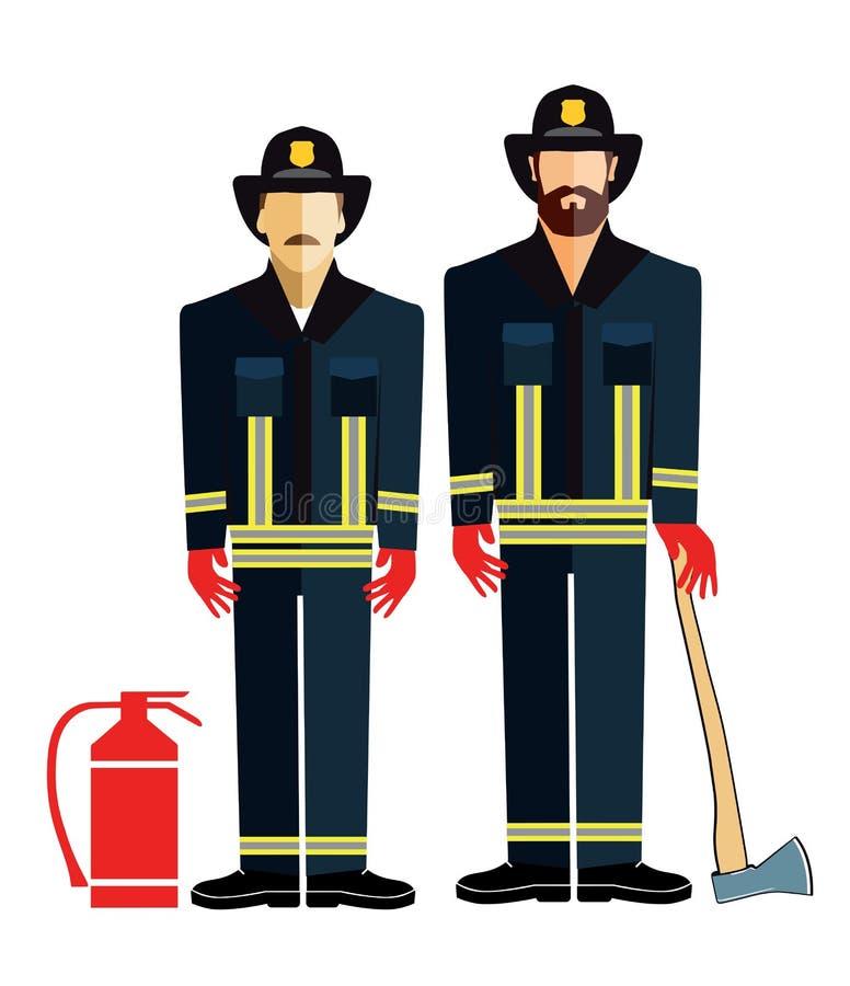 Umundurowani strażacy z cioską royalty ilustracja