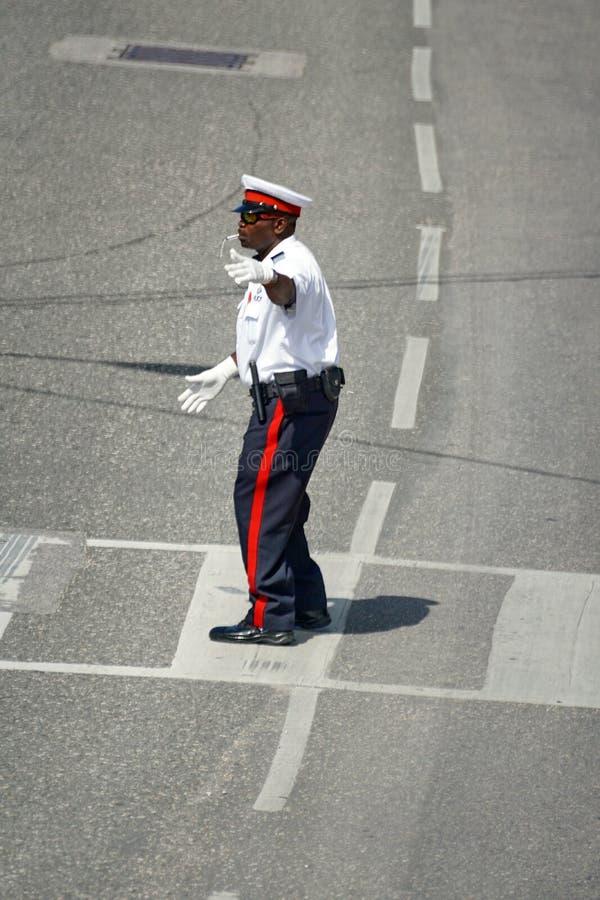 Umundurowany funkcjonariusz policji na Uroczystym kajmanie obraz royalty free