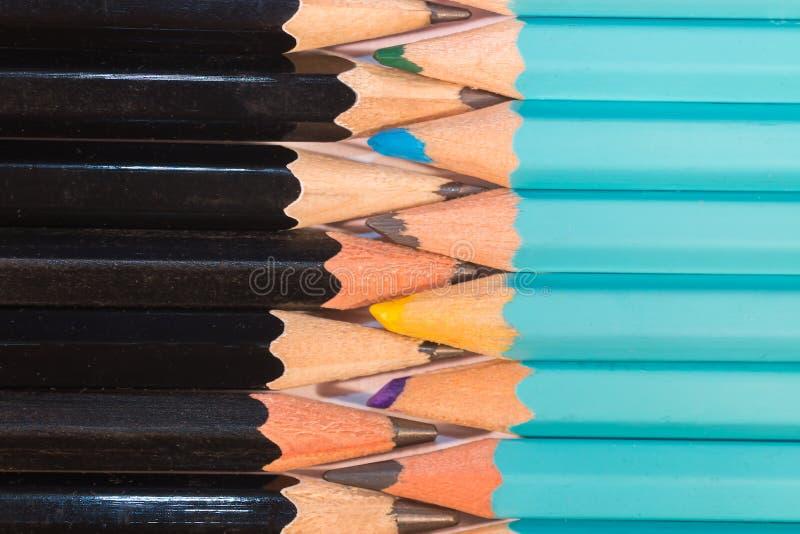 Umundurowany skład Ustaleni Drewniani ołówki obraz stock